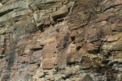 Red bands of sedimentary rock