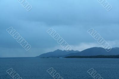 Shadowy blue ridges on overcast day