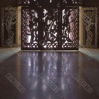 The ornate doors.