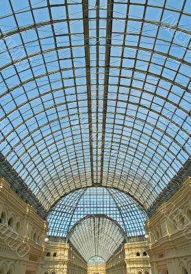 Glass dome of Gum shopping center, Moscow, Russia