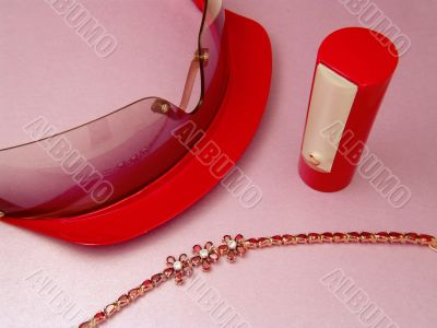 Stylish accessories in red color