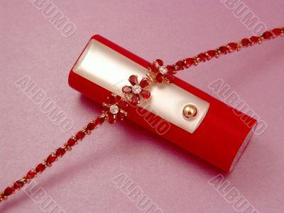 Lipstick and bracelet.
