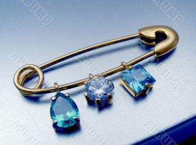 Original brooch with gems