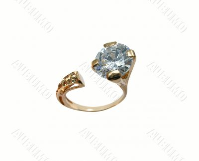 Golden jewelry brilliant ring