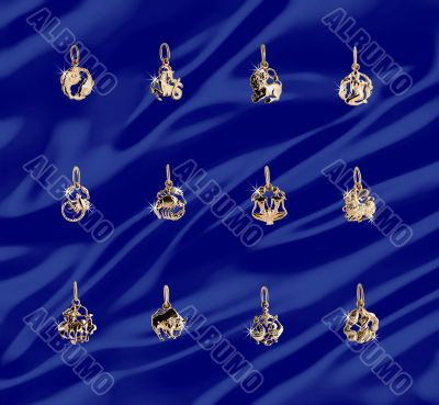 Twelve gold jewelry symbols on the zodiac