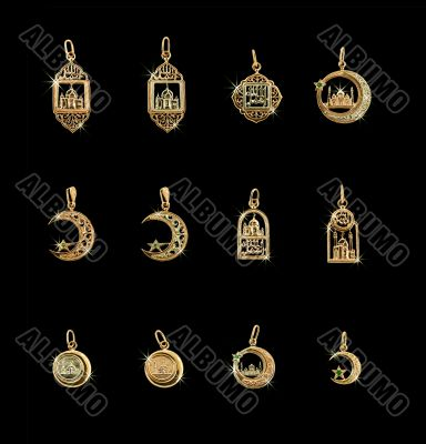 Twelve golden Mohammedan symbols