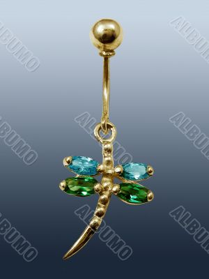 Piercing in form dragonfly with emeralds and sapphires