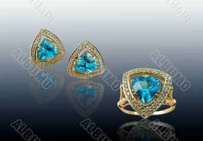 Golden sapphire jewelry