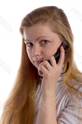 blonde with cell phone