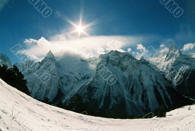 Dombai.Winter day.