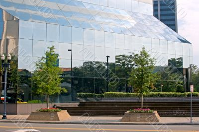 downtown urban park reflections