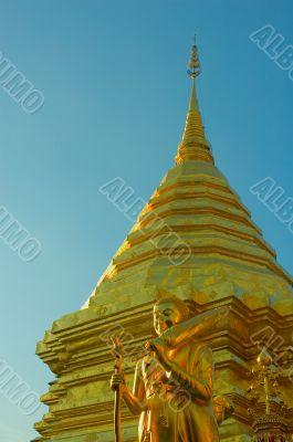 Bolden Buddha in Doi Sutep, Chiang Mai, Thailand
