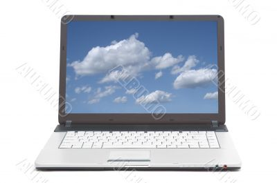 blue skies on the screen of notebook