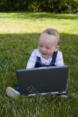 Baby study on computer