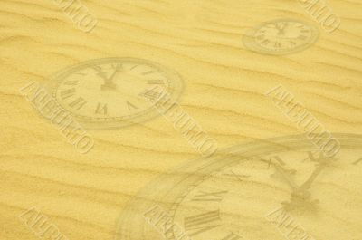 eternity background - clock faces dissolving in sand
