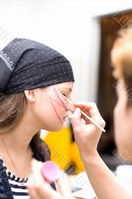 Preparing make up to actress before scene #3
