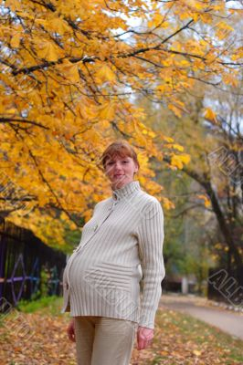 Pregnant woman walk in autumn park #2