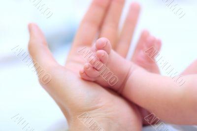 Man hold baby leg in hand