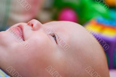 Baby`s happy face. Close up