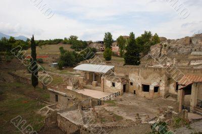 Italian town Pompeii view on ruins #1