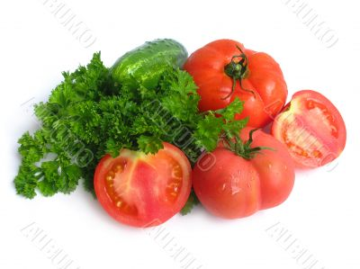 Cucumbers, tomatoes and greens