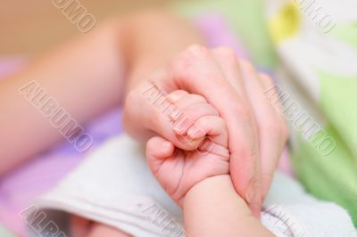 Baby hold mother finger on your hand #2