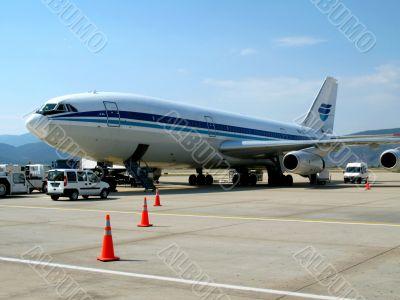 Air liner in airport