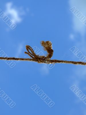 strong knot at the old rope in the sky