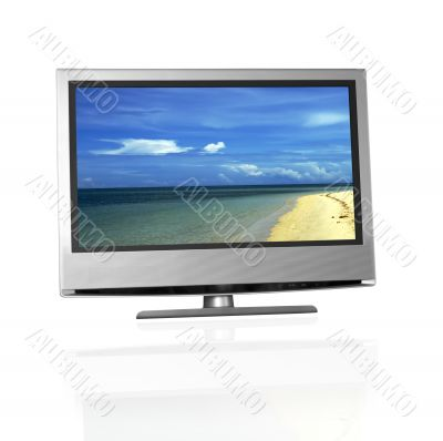 tropical beach on flat screen tv