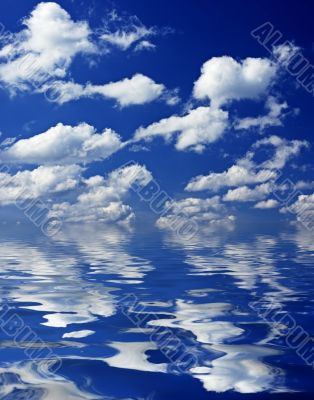 cloudy sky reflecting in the water