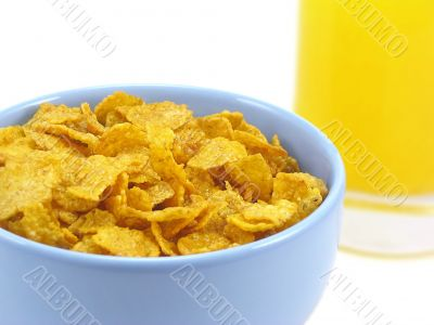 Bowl of cereal and orange juice