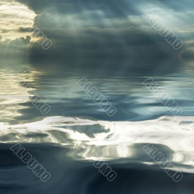 stormy cloud reflecting in the water