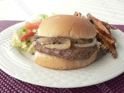 burger meal with salad and fries 2