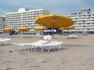 beach umbrellas and  lounge chairs at VA Beach