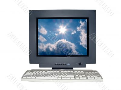 isolated computer monitor with blue sky scene concept