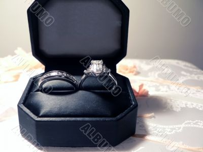 wedding ring and band - diamond and platinum in case 3