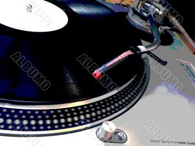 grunge dj turntable needle on record