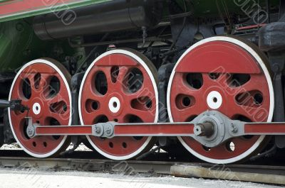 wheels of retro steam train