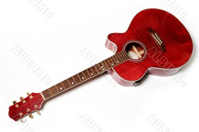 Acoustic guitar isolated over white. Musical instrument