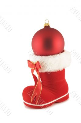 santa`s boot with christmas bauble