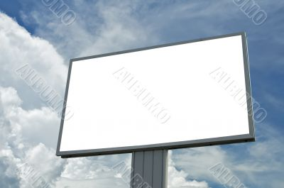 blank billboard over blue cloudy sky, just add your text