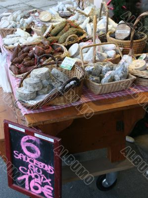 Artisan sausages in market