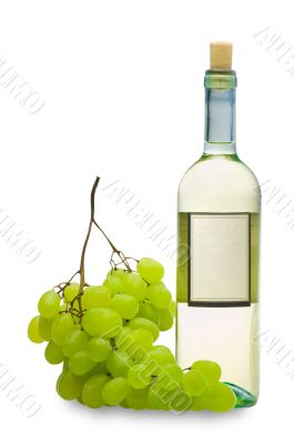white wine with grape isolated on white