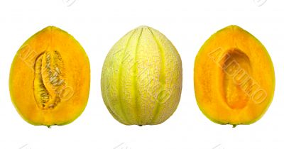 tasty ripe melon parts isolated on white