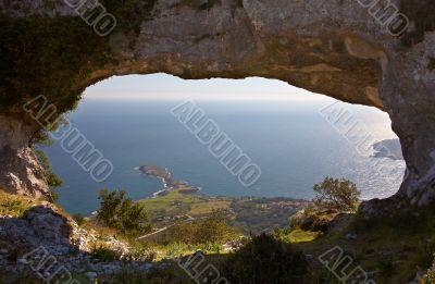 Coastline through rocks