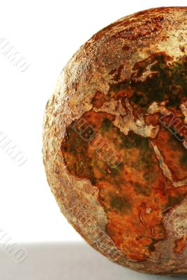 The part of the globe of the dehydrated earth