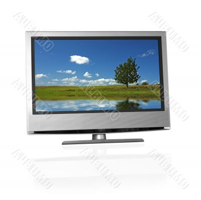 rural landscape on flat screen tv