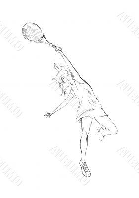 Smiling happy girl playing tennis