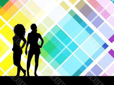Sexy females on retro background