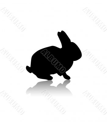 Black silhouette of rabbit,shape